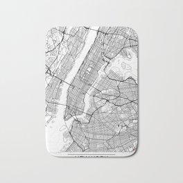 New York City Neutral Map Art Print Bath Mat