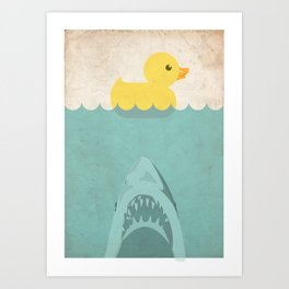 Jaws Rubber Duck Quack  Art Print