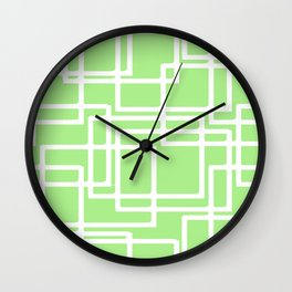 Retro Modern Rectangles On Pastel Green Wall Clock