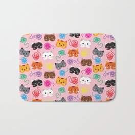 Cats Love String I Bath Mat