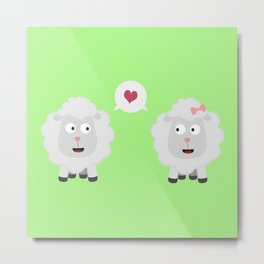 Sheeps in love with heart B7b4v Metal Print