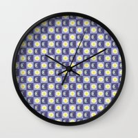 sun and moon Wall Clocks featuring Moon & Sun by Art Tree Designs