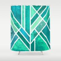 art deco Shower Curtains featuring Art Deco Mermaid by Elisabeth Fredriksson