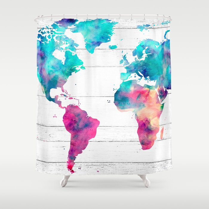 World Map Watercolor Paint on White Wood Shower Curtain by mapmaker on