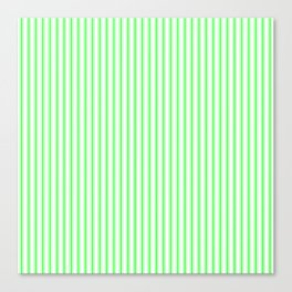 Mattress Ticking Narrow Striped Pattern in Neon Green and White Canvas Print