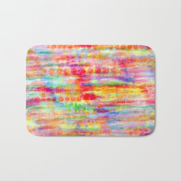 Light Rainbow Tie Dye Stripes Bath Mat