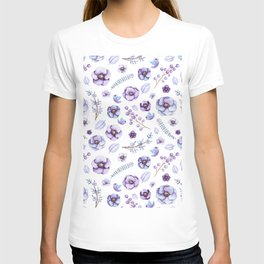 Hand painted lilac violet watercolor bird floral pattern T-shirt