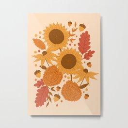 Sunflowers + Mums Metal Print