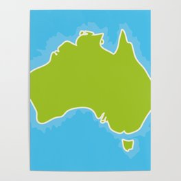 map of Australia Continent and blue Indian Ocean. Vector illustration Poster