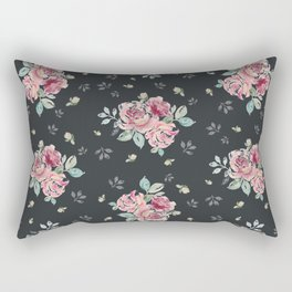 Country Rose on Inky Black Rectangular Pillow