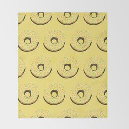 Yellow donuts Throw Blanket