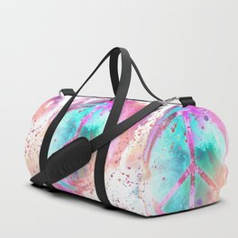 Colorful Painted Peace Symbol Hippie Style Duffle Bag