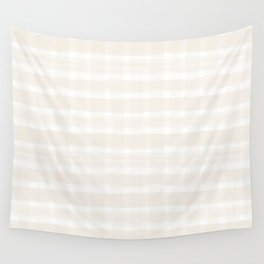 Creamy Off White SW7012 Watercolor Brushstroke Plaid Pattern on White Wall Tapestry