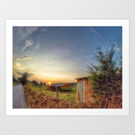 Sunset on County Rd 925 Art Print