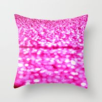 glitter Throw Pillows featuring Fuchsia Pink Glitter Sparkle by WhimsyRomance&Fun