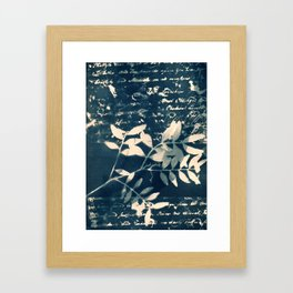 Fragments of the Past (9), art print, collage, blue print, wall art, wall decor, home decor Framed Art Print
