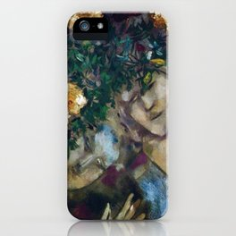 Lovers With Flowers, floral portrait painting by Marc Chagall iPhone Case