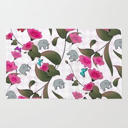 Abstract neon pink green cute elephant floral Rug