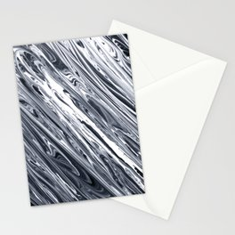 Black & White Striped Marble Print II Stationery Cards