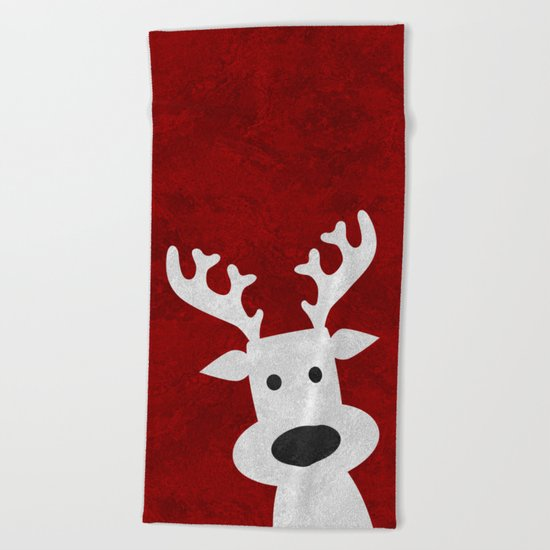 Christmas reindeer red marble Beach Towel