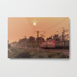 Mist sunset and a train Metal Print