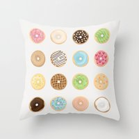 donut Throw Pillows featuring Donut by Céline Dscps