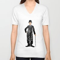 chaplin V-neck T-shirts featuring Charlie Chaplin by Ayse Deniz