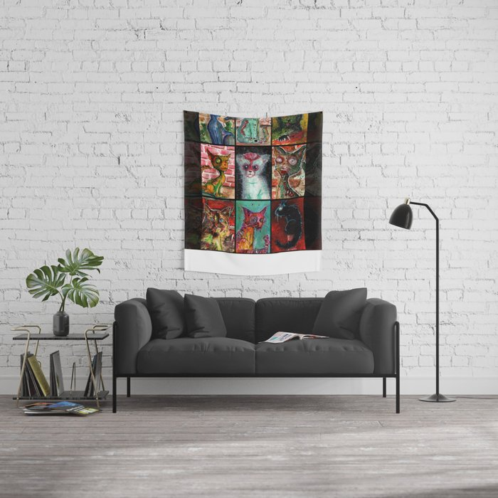 9 Zombie Cats version 2 Wall Tapestry