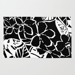 Floral Black and White Rug