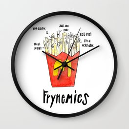 Frynemies, Frenemy, French Fries, Food Art, Funny Art, Illustration, Watercolor, Handlettering. Wall Clock