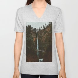 Autumn At Multnomah Falls Unisex V-Neck