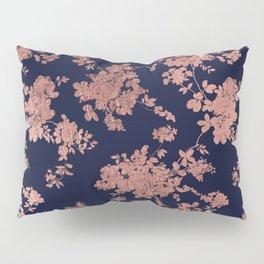 Modern elegant navy blue faux rose gold floral Pillow Sham