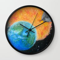 inception Wall Clocks featuring Painting Inception by Liz Mahoney