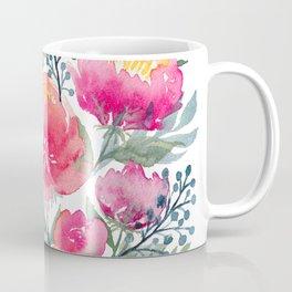 Peony and Poppy Flower Bouquet Coffee Mug