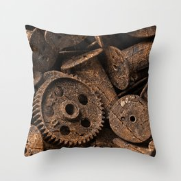 Cracked Wood Bobbins Throw Pillow