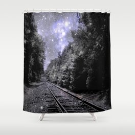 Train Tracks Next Stop Anywhere Periwinkle Gray Shower Curtain