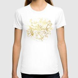 Gratitude Gold Text T-shirt