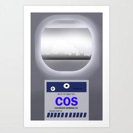 Colorado Springs -COS - airport code and skyline Art Print