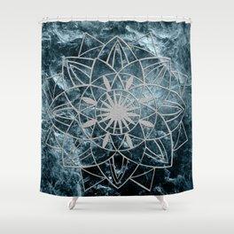 Star Mandala on Enigmatic Deep Blue Ocean Marble #1 #decor #art #society6 Shower Curtain
