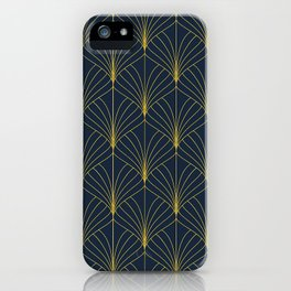 The Cat's Meow! Blue & Gold Art Deco Pattern iPhone Case