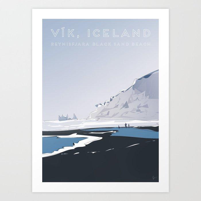Vik Reynisfjara Black Sand Beach, Iceland Travel Poster Art Print