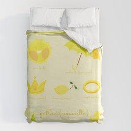 Colors: yellow (Los colores: amarillo) Duvet Cover