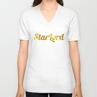 star lord V-neck T-shirts featuring Golden Star Lord by foreverwars