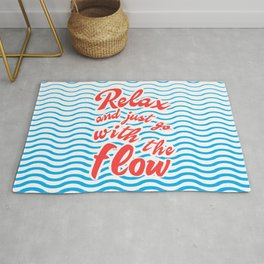 Just Relax and Go With The Flow, with waves, summer, Rug