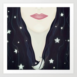 The moon and stars in my hair Art Print