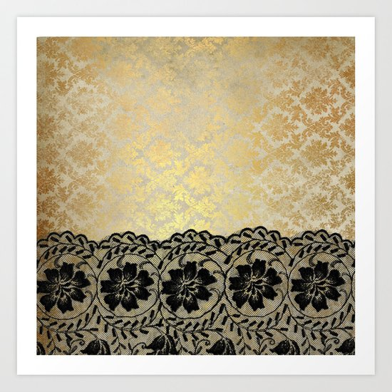 Black floral luxury lace on gold damask pattern Art Print
