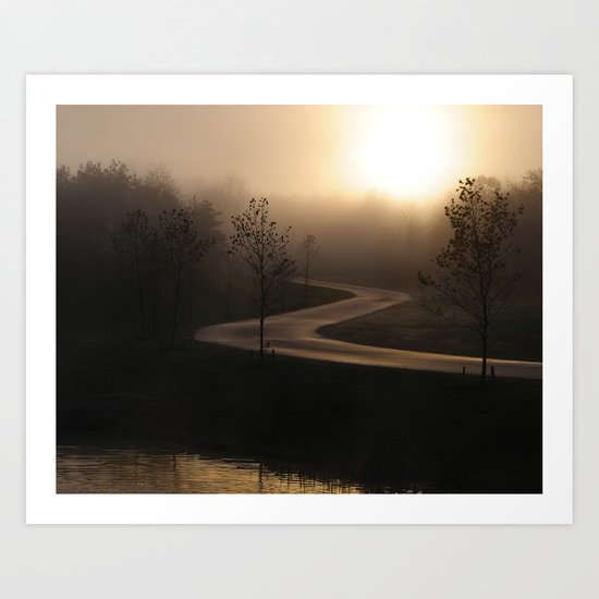 The long and winding misty and moody road Art Print