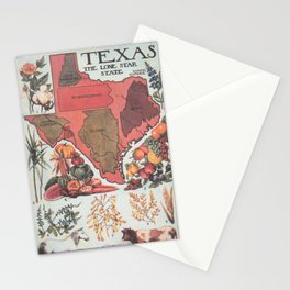 Vintage Texas Agricultural Map (1922) Stationery Cards