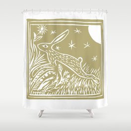 Lino Cut Hare Shower Curtain