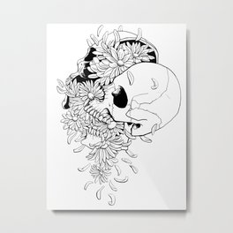 Skull (Pushing Up Daisies) Metal Print